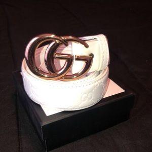 White Gucci Belt Size 38